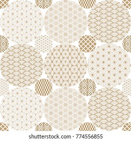 Japanese pattern background vector. Gold geometric cover design , poster, card, template.