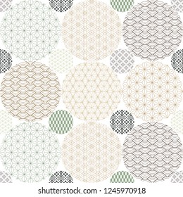 Japanese pattern background vector. Line template. Geometric elements.