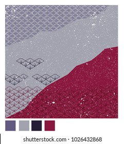 Japanese pattern background vector. Purple collage graphic with grunge texture.