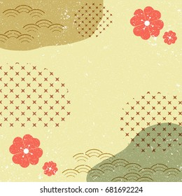Japanese pattern background vector. Red flower with grunge texture.