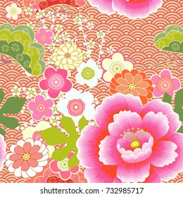 Japanese pattern. Cherry blossom. Ornament. with oriental motifs. Vector
