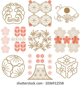 Japanese pattern with crest logo vector. Gold geometric background. Cherry blossom flower elements,