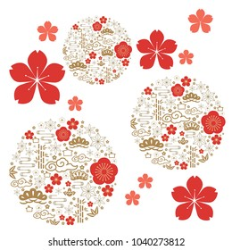 Japanese pattern. Gold geometric background and red icon elements. Cherry blossom flower vector.