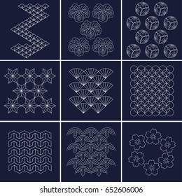 Japanese pattern Sashiko is a form of decorative reinforcement stitching or functional embroidery from Japan. Blue pattern and white line on Indigo background.