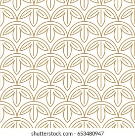 Japanese pattern Sashiko is a form of decorative reinforcement stitching (or functional embroidery) from Japan. Gold pattern and line on white background. Leaves pattern vector.