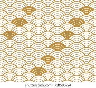 Japanese pattern seamless vector. Gold geometric background wave shape for cover page design, template, poster, backdrop.