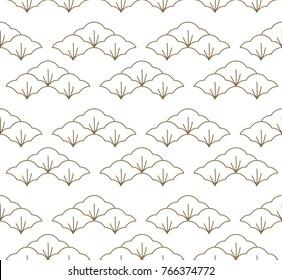 Japanese pattern seamless vector. Gold geometric background.