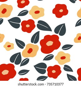 Japanese pattern seamless vector. Red flower background. Natural graphic for textile, card, poster, fabric, cover page design.