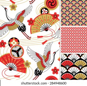 Japanese pattern set. Seamless vector ornaments with traditional motives.