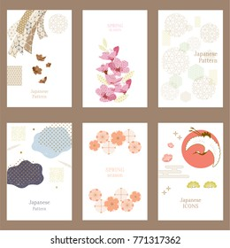 Japanese pattern vector background. Crane, ribbon, cherry blossom elements and icons. Asian traditional card design.
