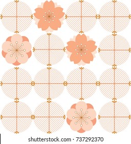 Japanese pattern vector. Cherry blossom and pink geometric background for warping paper, textile, cover page design, template.