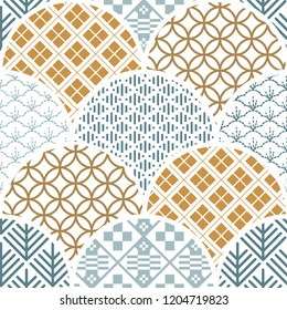 Japanese pattern vector. Geometric background template. Curve shape elements.