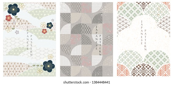 Japanese pattern vector. Geometric background in Asian style. Line  template.