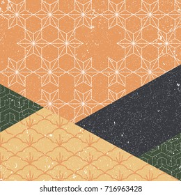 Japanese pattern vector. Geometric background with autumn maple color set style for cover page design, template, poster, card.