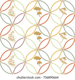 Japanese pattern vector. Geometric background with nature elements for card, poster, template, cover page design.