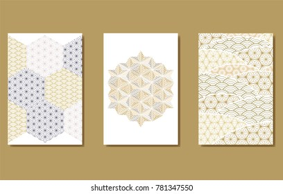 Japanese pattern vector. Geometric background for greeting card, poster, cover page design, template.