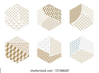 Japanese pattern vector. Gold and blue geometric background in collage style for icon, symbol, backdrop, cover page design.