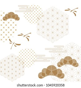 Japanese pattern vector. Gold geometric  background. Fly, wave and tree.