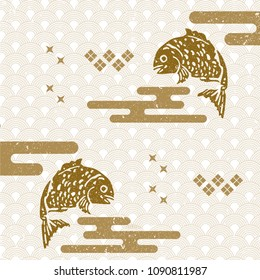 Japanese pattern vector. Gold geometric background. Fish , Wave elements.