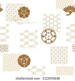 Japanese pattern vector. Gold geometric background. Crest of Japan tradition. Wrapping paper, Template, Icons, elements.