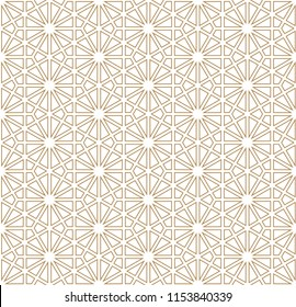 Japanese pattern vector. Gold geometric background.