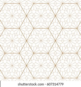 Japanese pattern vector. Gold geometric background and texture. Floral elements.