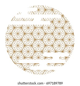 Japanese pattern vector. Gold geometric background in circle shape for card, poster, postcard, template, cover page.