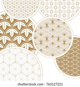 Japanese pattern vector. Gold geometric background for card, poster, template, cover page design.