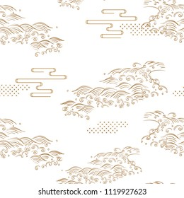 Japanese pattern vector. Gold hand drawn background. Wave hand drawn elements.