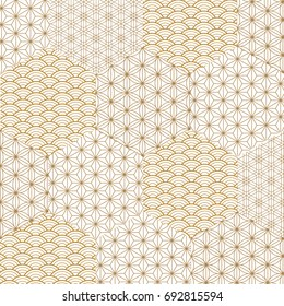 Japanese pattern vector. Gold hexagon background texture in wave, curve shape.