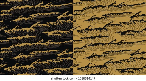 Japanese pattern vector. Gold sea background texture.