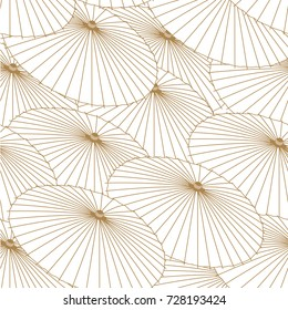 Japanese pattern vector. Gold umbrella background for backdrop, template, cover page design.
