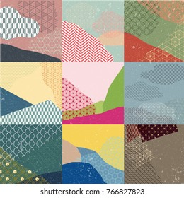 Japanese pattern vector with grunge texture background.