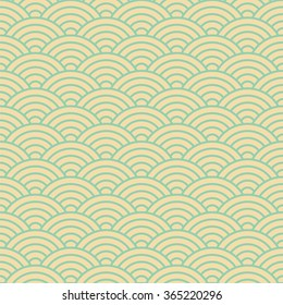 Japanese pattern, vector illustration. Colorful wave pattern. Fan pattern. Asian pattern.