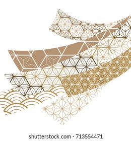 Japanese pattern vector on group of ribbon shape. Gold geometric background texture for card, template, cover page design, poster, postcard.