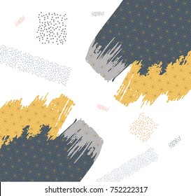 Japanese pattern vector with painting brush background for cover page design, template, web design, wallpaper, backdrop, card, poster.