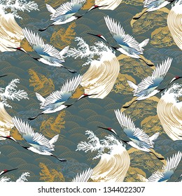 Japanese pattern vector. Traditional motif background with crane birds and wave elements. Asia oriental template.