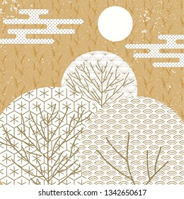 Japanese pattern vector. Tree icon background at night. Moon, cloud and tree elements.