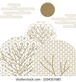Japanese pattern vector. Tree shape in Traditional wood work of Japan background. Gold geometric background.