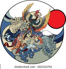 Japanese peacock tattoo.Asian Phoenix fire bird tattoo design.Colorful Phoenix fire bird colouring book illustration.Hand drawn Japanese tattoo style.