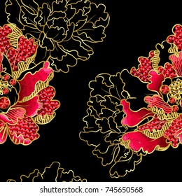 Japanese peonies flowers embroidery with sequins and beads for print of textile design. Pattern seamless vector illustration.