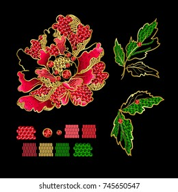 Japanese peony flowers embroidery with sequins and beads for print of textile design.  Vector illustration.