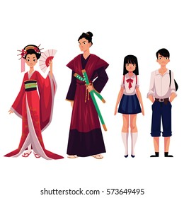 Japanese people - geisha and samurai in historical costumes, typical school girl, boy, cartoon vector illustration isolated on white background. Japanese geisha, samurai, schoolgirl, schoolboy