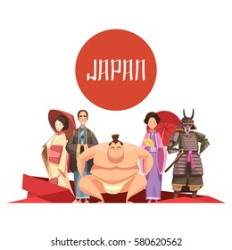Japanese persons retro cartoon design with man and women in national clothing samurai sumo wrestler vector illustration