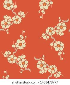 Japanese plum blossom flower seamless pattern