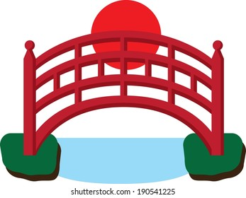 Japanese Red Bridge over Water Vector