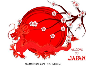 Japanese red dragon cut out of paper on the background of the Japanese flag, cherry blossoms and hand lettering Welcome to Japan. 3d vector illustration of the Japanese flag.