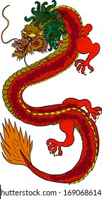 Japanese red dragon tattoo.Dragon on white isolated  background for Chinese New Year.Chinese Dragon vector.King Dragon tattoo.cartoon vector for t-shirt.