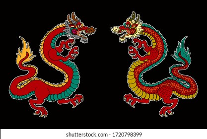 Japanese red dragon tattoo.Dragon on red background for Chinese New Year.Gold Chinese Dragon vector. Gold line art King Dragon tattoo.cartoon vector for t-shirt.