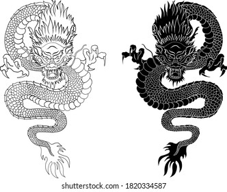 Japanese red dragon tattoo.Dragon on red background for Chinese New Year.Gold Chinese Dragon vector.Gold line art King Dragon tattoo.cartoon vector for t-shirt.